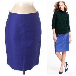 J. Crew No. 2 Pencil Skirt Vibrant Blue Cotton